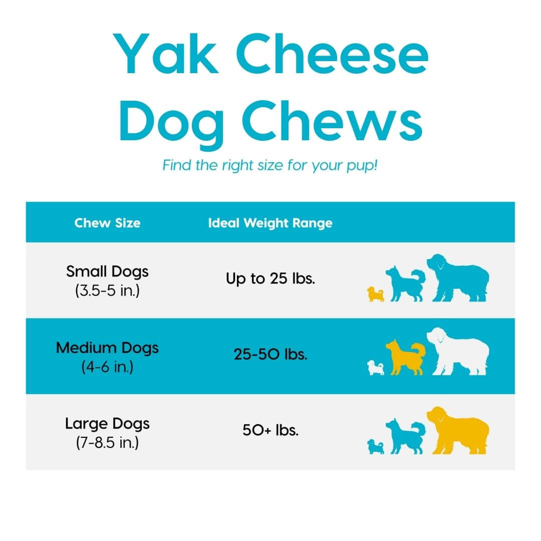 yak cheese dog chews size chart | Pupford