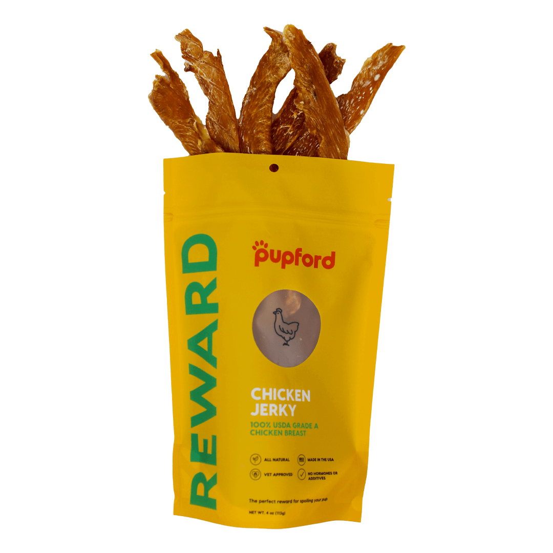 chicken-jerky-coming-out-of-bag | Pupford