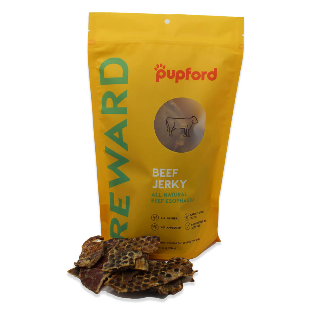 new-beef-jerky-in-front-of-bag-website | Pupford