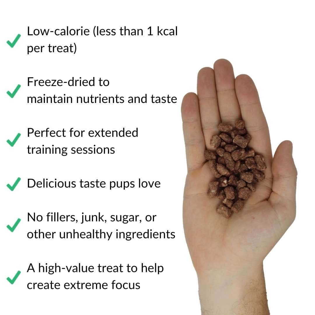 freeze dried beef liver training treats in hand with benefits | Pupford