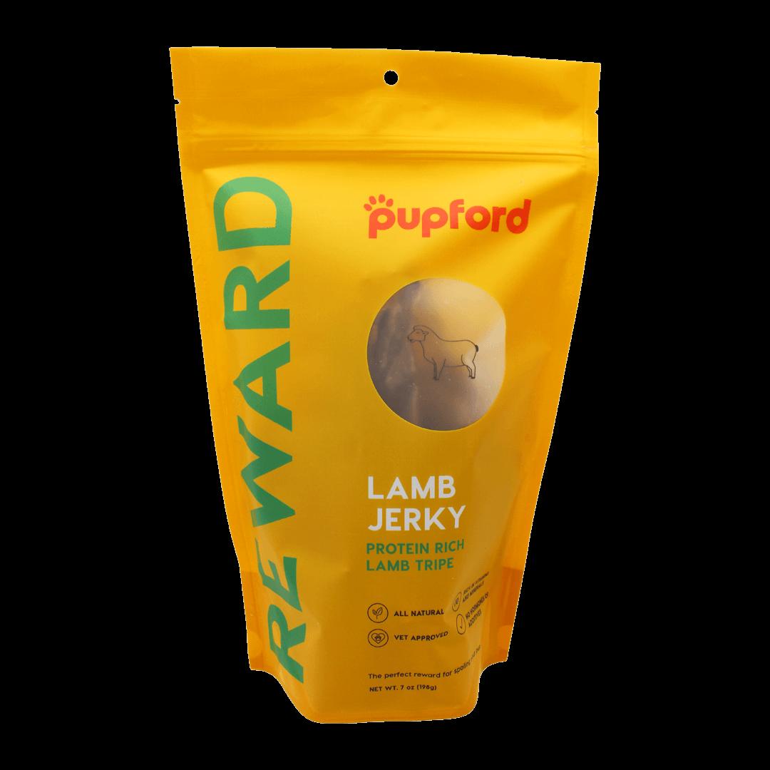 Lamb-Jerky-Tripe-7-Oz-Front-of-Bag-Site | Pupford