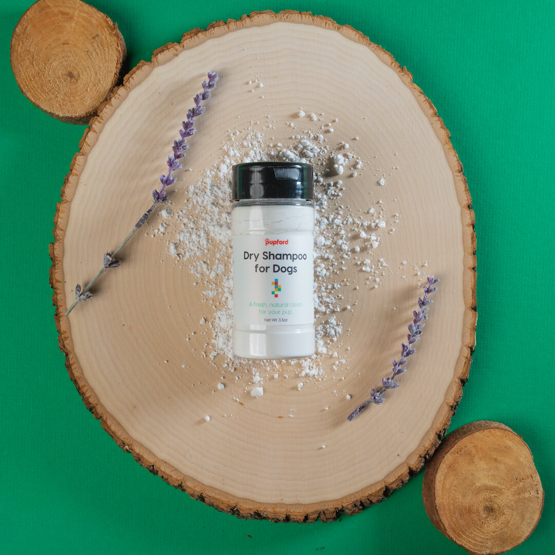 dry shampoo on wood block | Pupford