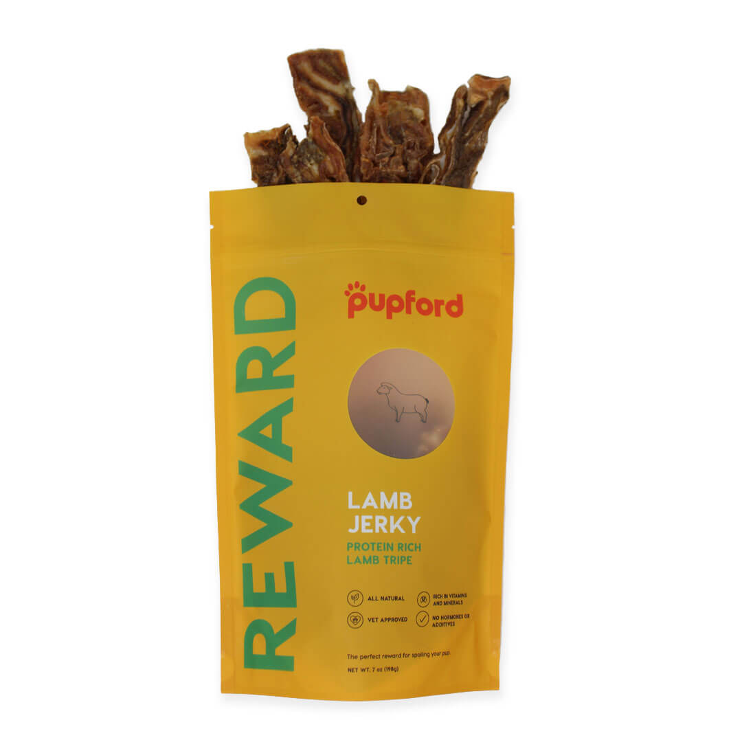 Lamb-Jerky-Coming-Out-of-Bag-Site | Pupford