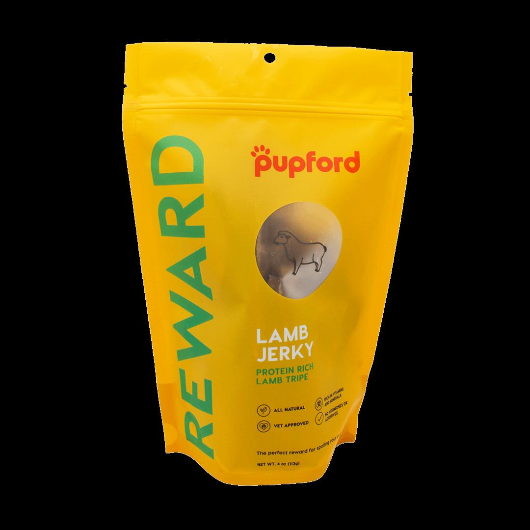 Lamb-Jerky-Tripe-4-Oz-Bag-Front-Site | Pupford